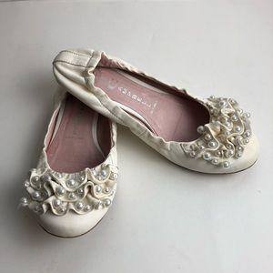Jeffrey Campbell White Pearl Flat Shoe 7.5 Wedding